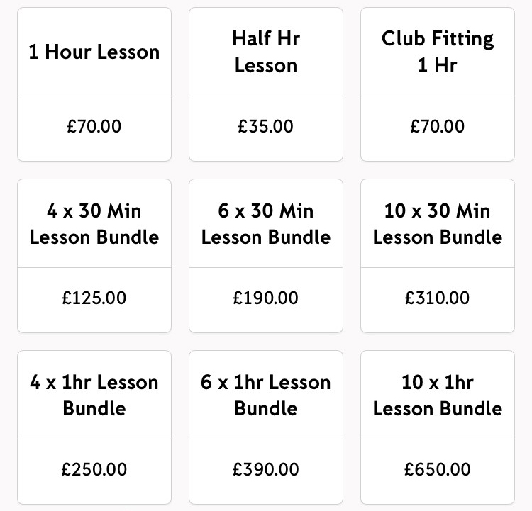 James Ellis-Caird Golf Lesson Rates